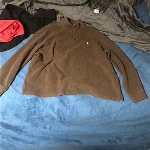 Polo Ralph Lauren Brown Partial Zip Sweater